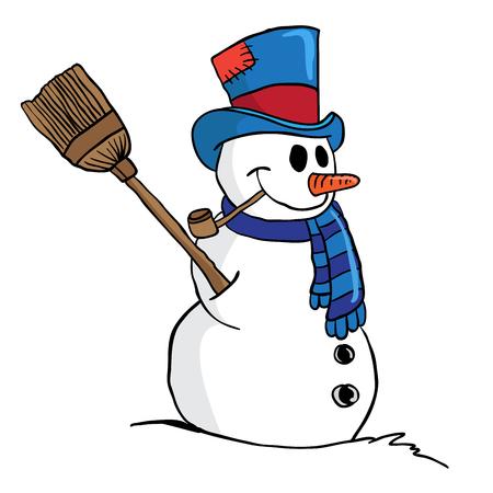 snowman cartoon: snowman cartoon illustration isolated on white Illustration