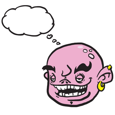 snort: pink cartoon face with thought bubble illustration Illustration