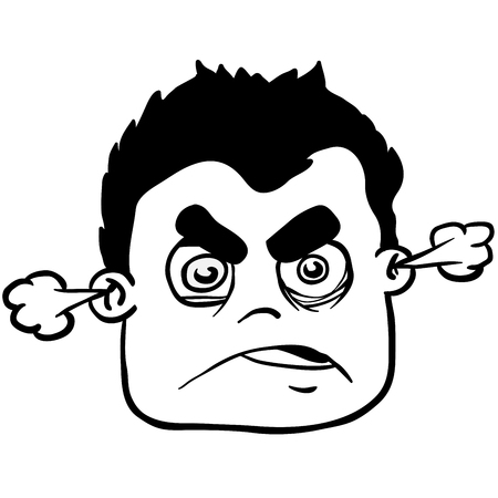 simple black and white angry boy cartoon Illustration