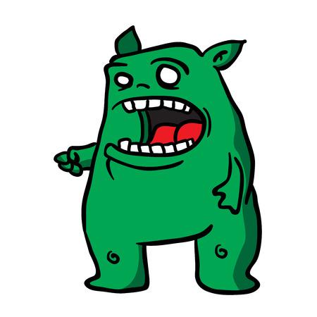 demonio: ilustración de dibujos animados monstruo verde Vectores