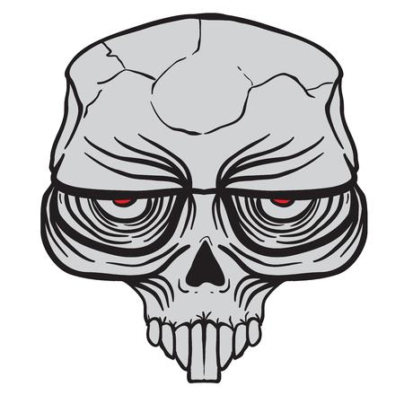 白に隔離されたエイリアンの頭蓋骨漫画のイラスト