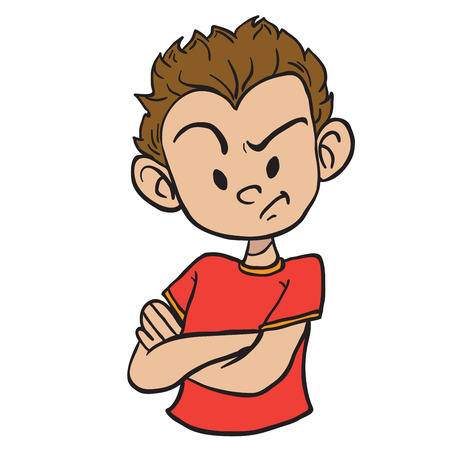 Angry boy with crossed arms cartoon illustration isolated on white