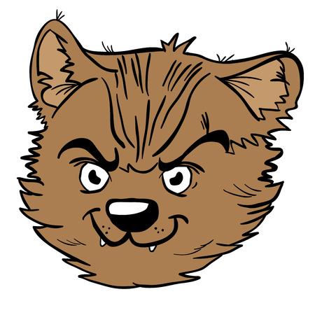 怒っている猫の漫画のイラストは白で隔離  イラスト・ベクター素材