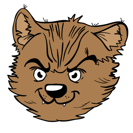 Angry cat cartoon illustration isolated on white
