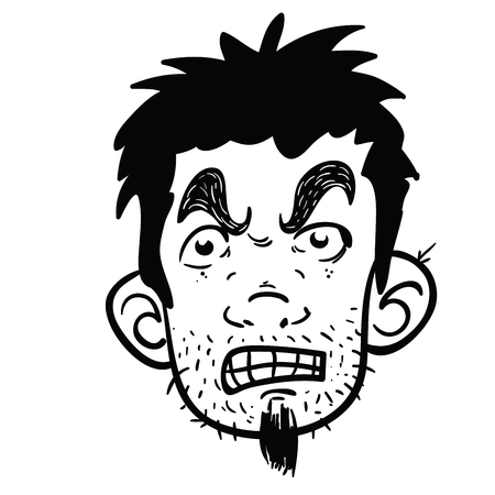 Angry face black and white cartoon illustration isolated on white Vectores