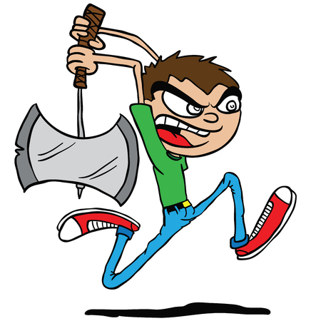 boy with an axe cartoon illustration isolated on white