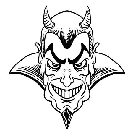 man masked in a devil black and white cartoon illustration isolated on white