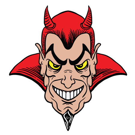 man masked in a devil cartoon illustration isolated on white