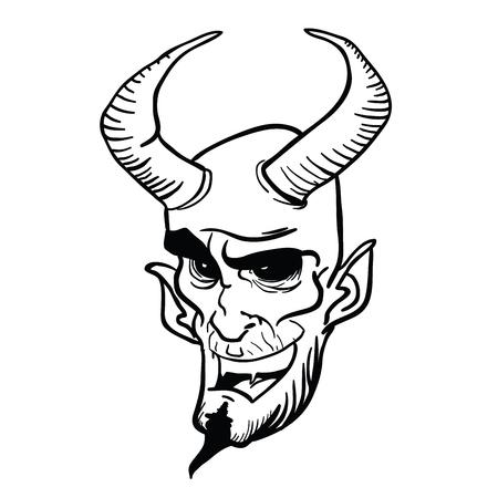 devil head cartoon illustration isolated on white Иллюстрация