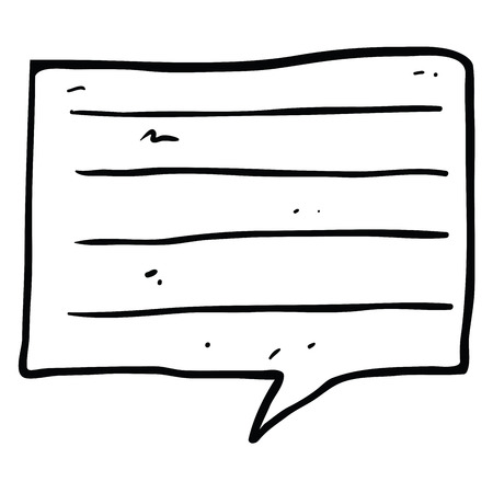 freehand cartoon notes speech bubble isolated on white