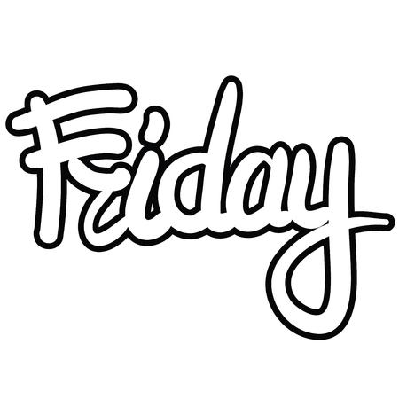 Hand written lettering word Friday. Ilustração