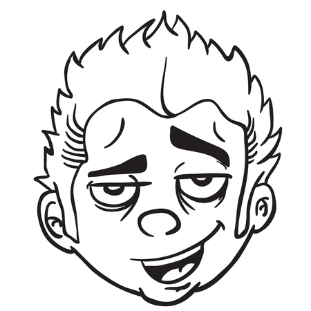 funny looking face black and white cartoon illustration