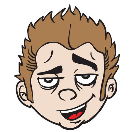 Funny looking face cartoon illustration. Isolated on white background. Ilustração