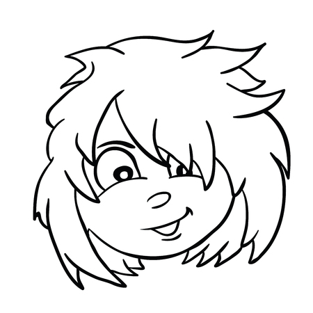 Girl with messy hair cartoon illustration isolated on white Çizim