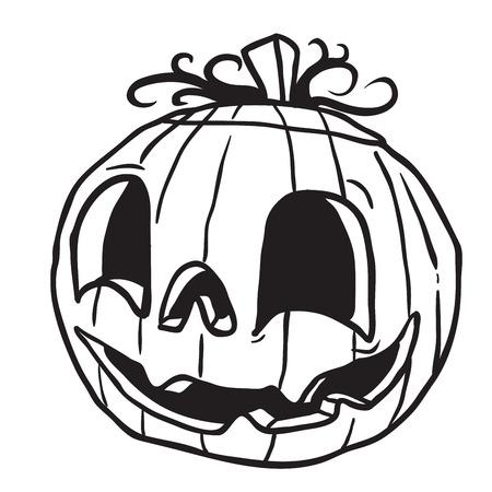 白に隔離されたハロウィーンカボチャ黒と白の漫画のイラスト