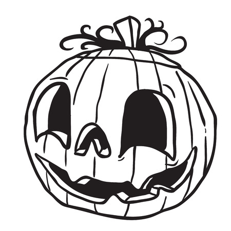 halloween pumpkin black and white cartoon illustration isolated on white