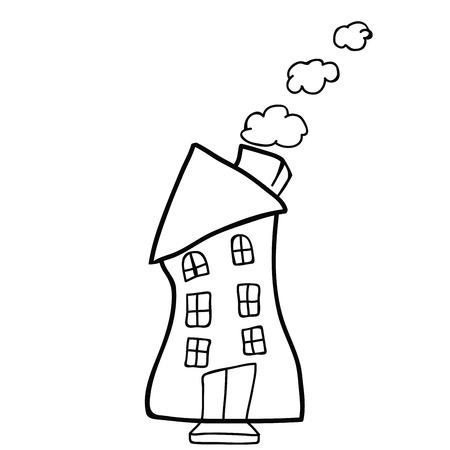 House doodle black and white cartoon illustration isolated on white Illustration