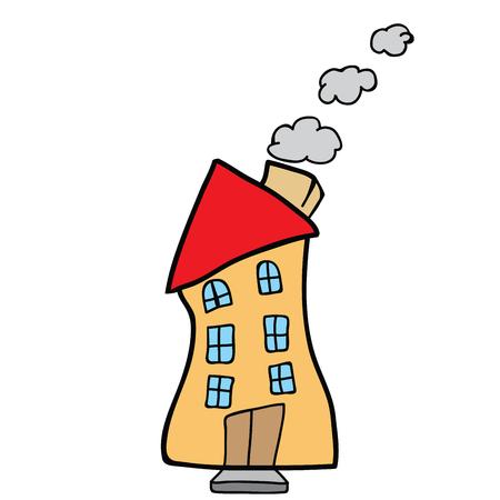 白い背景に隔離された家の落書き漫画のイラスト。