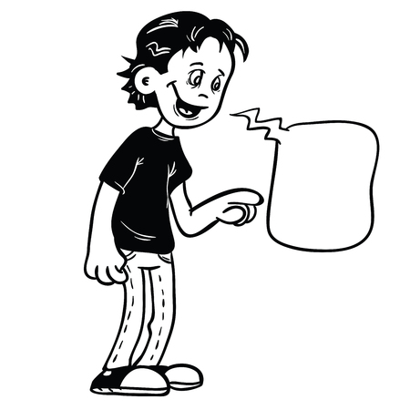 Black and white drawing of a kid with pointing finger and speech bubble. Ilustração