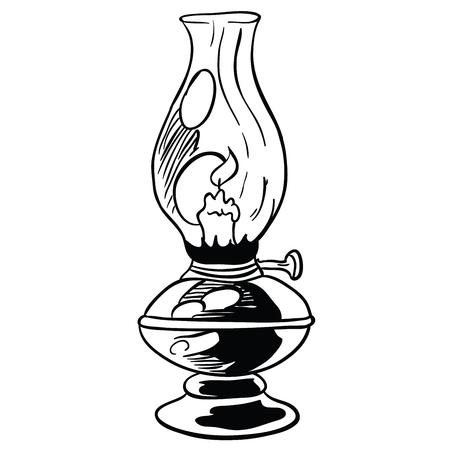 白に隔離されたランプ漫画落書きイラスト  イラスト・ベクター素材