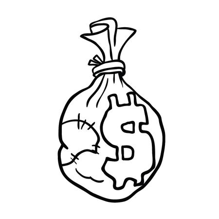 Money bag black and white cartoon illustration. Isolated on white background.