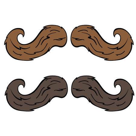 brown moustache cartoon doodle isolated on white Illustration