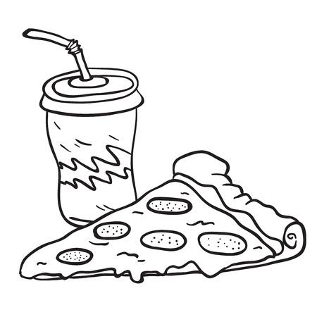 ピザとソーダ漫画のイラストは、白い背景に隔離されています。  イラスト・ベクター素材