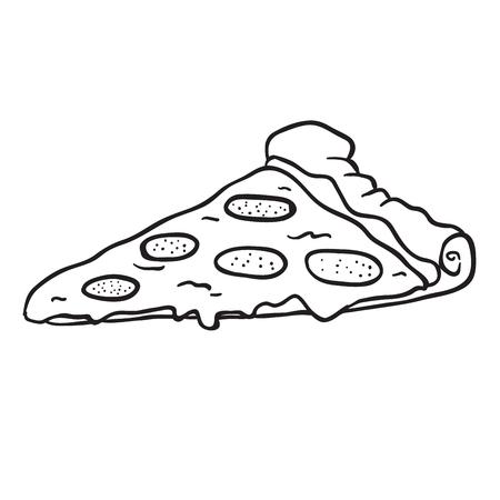 白い背景に隔離されたピザスライス漫画のイラスト。