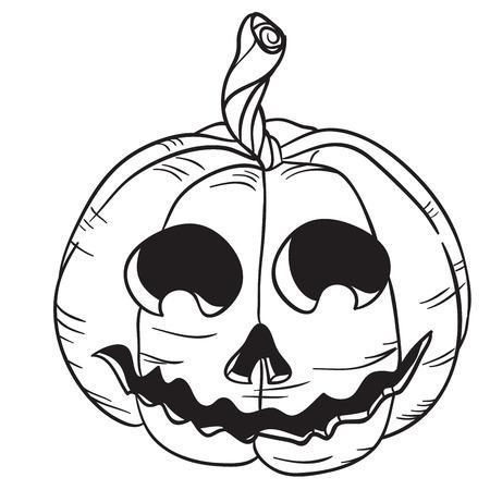 halloween pumpkin black and white cartoon illustration isolated on white