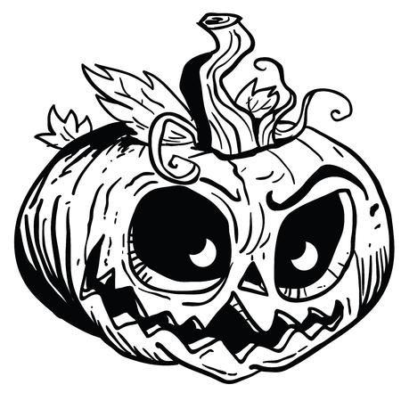 Halloween pumpkin cartoon illustration isolated on white background. Ilustração