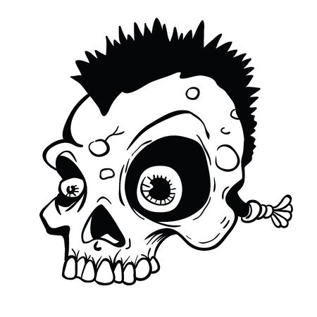 モヒカン漫画のイラストを持つパンクの頭蓋骨。白い背景に隔離されています。