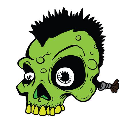白い背景に隔離されたモホーク漫画のイラストを持つパンクの頭蓋骨。