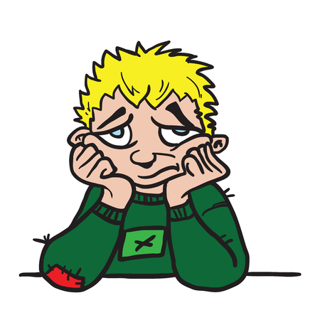 悲しい少年漫画のイラストは、白い背景に隔離されています。  イラスト・ベクター素材