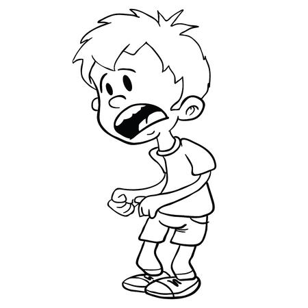 怖い小さな男の子の漫画のイラストは白に隔離