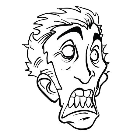 怖い男の頭の漫画のイラストは、白い背景に隔離されています。  イラスト・ベクター素材