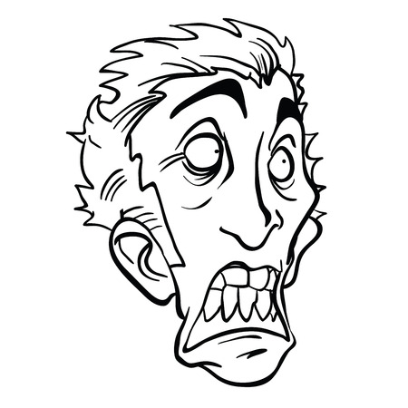 Scared man head cartoon illustration isolated on white background.