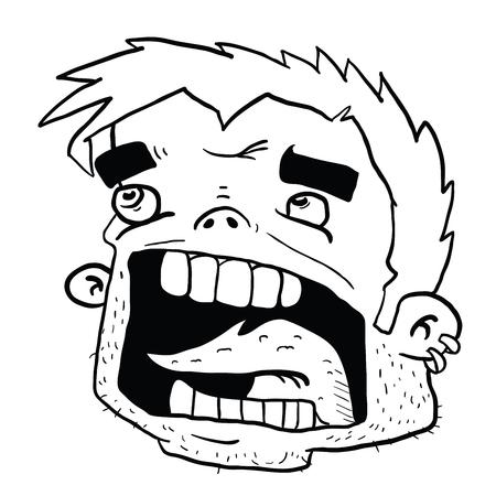白で隔離された叫び声ヘッド漫画のイラスト  イラスト・ベクター素材