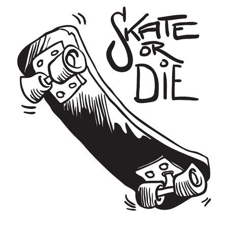 skateboard black and white cartoon illustration isolated on white