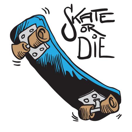 skateboard cartoonillustration isolated on white Ilustração