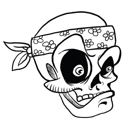 白で隔離されたバンダナ漫画のイラストを着用した頭蓋骨