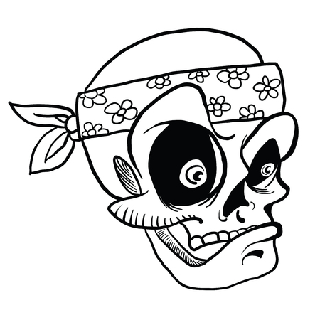 skull wearing bandana cartoon illustration isolated on white
