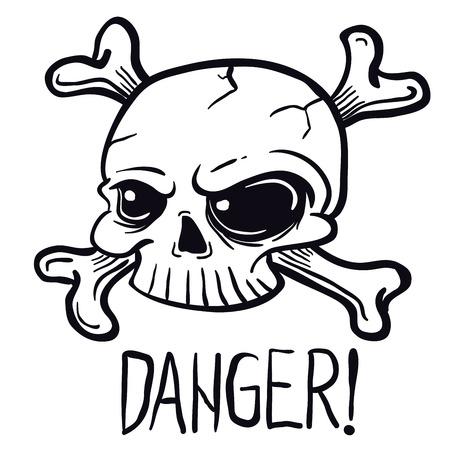 skull black and white cartoon illustration isolated on white Ilustração