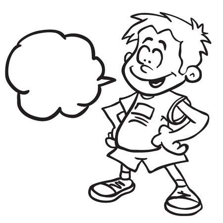 白に隔離された黒と白の漫画のイラストを立つスピーチバブルを持つ笑顔の少年