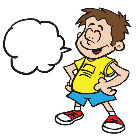 白で隔離されたスピーチバブル立つ漫画のイラストを持つ笑顔の少年