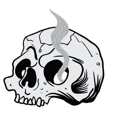 喫煙頭蓋骨漫画のイラストは白で隔離  イラスト・ベクター素材