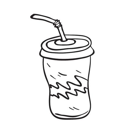ストロー漫画のイラストが白で隔離されたソーダ