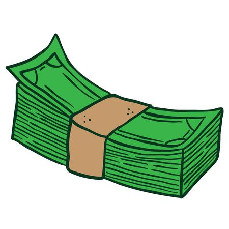 白に隔離されたお金の漫画のイラストのスタック