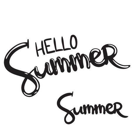 hand written lettering phrase hello summer
