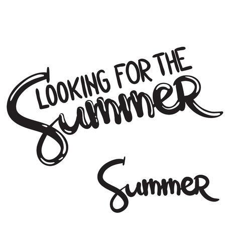 夏を探して手書きのレタリングフレーズ