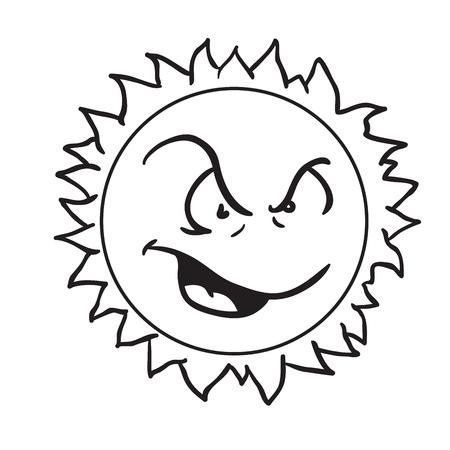怒っている太陽黒と白の漫画のイラストは白に隔離  イラスト・ベクター素材